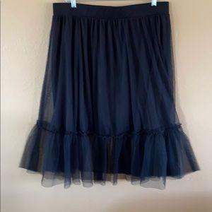 TORRID Mesh Tulle Overlay Midi Skirt 3 Solid Black